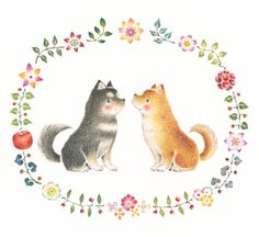 """Two Dogs in Wreath"" −RiLi, picture book, illustration, design ___ ""二匹の犬と花の輪"" −リリ, 絵本, イラスト, デザイン ...... #illustration #wreath #dog #puppy #イラスト #花輪 #犬 #子犬"