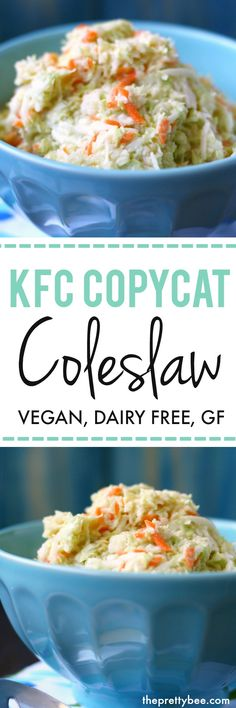Finely chopped cabbage and a creamy, zesty dressing make this vegan KFC copycat coleslaw recipe a big hit at any party!