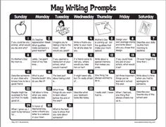 Free monthly writing tips from Lakeshore Learning Lakeshore Learning May Writing Prompts First Grade Writing Prompts, Kindergarten Writing Prompts, Third Grade Writing, Writing Prompts Romance, Journal Writing Prompts, Writing Prompts For Kids, Picture Writing Prompts, Writing Lessons, Teaching Writing