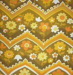 #Vintage retro #1960s #1970s barkcloth curtain fabric material, flower power oran,  View more on the LINK: http://www.zeppy.io/product/gb/2/111979271891/