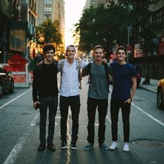 (From right to left) Adrian Bliss, Jack Harries, Tim Kellner, Finn Harries. Taken by Casey Neistat while in NYC filming documentaries.