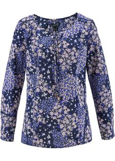 Bonprix Blouse, bpc bonprix collection, donkerblauw gedessineerd bloemenprint dark navy blue floral print longsleeve