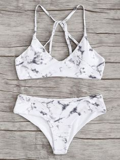 Shop Criss Cross Top With Marble Print Bikini Set online. SheIn offers Criss Cross Top With Marble Print Bikini Set & more to fit your fashionable needs. Bathing Suits For Teens, Summer Bathing Suits, Swimsuits For Teens, Cute Bathing Suits, Summer Suits, Cute Swimsuits, Cute Bikinis, Teen Bikinis, Bikini V Shape