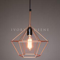 Diamond Cage Copper Tone Wire Pendant Light