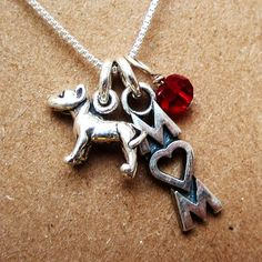 GREAT Mother's Day Gift for Dog Moms Sterling Silver Mini Pit Bull Mom Necklace (your choice), Dog Park Publishing