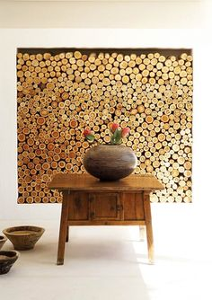 Concept: this wood storage idea, used in an entryway, could create useful space w/ visual interst; Soft Miszewski and Anya van der Merwe