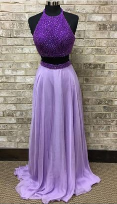c4bbb4198894e Purple Beaded 2 Pieces Prom Dress,Light Purple Chiffon Prom Gown,Two Pieces  Formal Dress