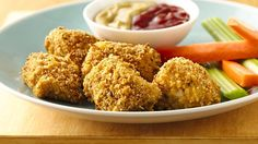 Garden Ranch Baked Chicken Nuggets - Crunchy ranch-flavored chicken nuggets—a quick family-pleasing supper or snack made with Green Giant® garden ranch roasted veggie tortilla chips. Turkey Recipes, Chicken Recipes, Baked Chicken Nuggets, Fried Chicken, Pillsbury Recipes, Good Food, Yummy Food, Cooking Recipes, Cooking Videos