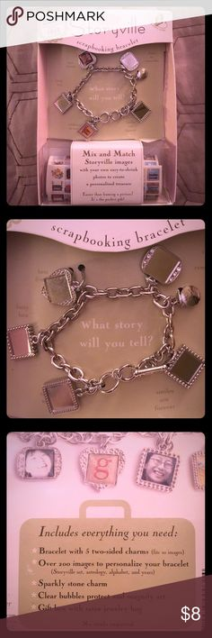 Storyville Scrapbooking Bracelet - New w/out tags Storyville Scrapbooking Bracelet - New w/out tags.                                                                     ▪️Beautiful charm bracelet ▪️Scrapbooking style pictures ▪️two images on each charm (total of 10) ▪️great gift for all occasions                              The perfect gift, even for yourself! Mix and match Storyville images with your own easy-to-shrink photos to create a personalized treasure. Each of the 5 charms holds…