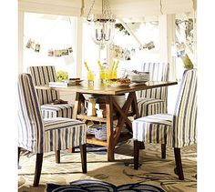 Love this half skirt slip look!!    Napa Chair & Slipcovers - Select Items #potterybarn