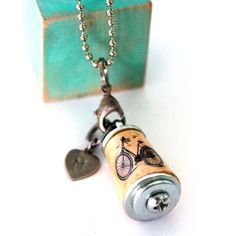 Bike Necklace Bicycle Jewelry, Wearable Art Jewelry, Bicycle Necklace, Art to Wear, Cork Art Necklac Cork Necklace, Art Necklaces, Jewelry Art, Jewelry Design, Wine Bottle Candles, Cork Art, Vintage Bicycles, Initial Charm, Antique Silver