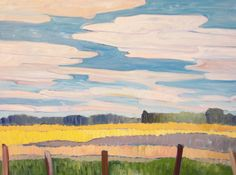 "Barbara Whelan ""Fenceline""  Oil on Canvas  24"" x 36"""