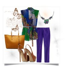 """Patterns and necklace in violet and green"" by kattjaf on Polyvore"
