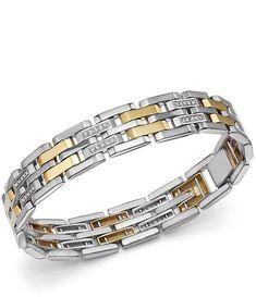 Bloomingdale's Diamond Men's Bracelet in Yellow Gold & Sterling Silver, ct. Men's Accessory Box, Gents Bracelet, Mens Gold Bracelets, Diamond Bracelets, Diamond Jewelry, Black Hills Gold Jewelry, Copper Jewelry, Snake Jewelry, Amethyst Jewelry