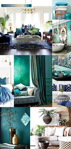 Interior Decor Color Trends For 2020 – Lamour Artisans Colorful Decor, Colorful Interiors, Home Decor Trends, Diy Home Decor, Ocean Home Decor, Design Lounge, Chair Design, Interior Decorating, Interior Design