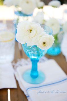 Blue Glass & Flowers