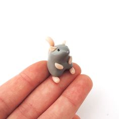 Little Grey Mouse Miniature Totem Polymer Clay Figure by cbexpress