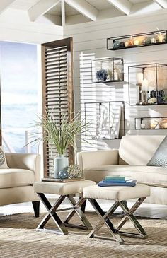 Coastal living - stools - perfect if you are tight for space but need added seating
