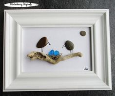 Items similar to Sea glass art - Housewarming Gift - Spring flowers on Etsy Sea Glass Crafts, Sea Glass Art, Stone Crafts, Rock Crafts, Pebble Painting, Pebble Art, Pebble Pictures, Rock Decor, Shell Art