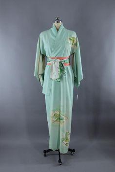 a3b4c731c Vintage Silk Kimono, Mint Green Floral Print, Art Deco, Wedding Dressing  Gown, Lingerie Loungewear, 1960s