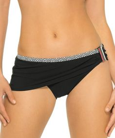 Another great find on #zulily! Black Shirred Skirted Bikini Bottoms #zulilyfinds