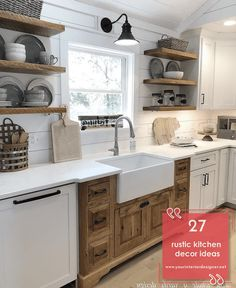 Are you interested in rustic style kitchens? Or do you want to renew your cabinets in this style? If yes, check out the Rustic Kitchen Island, Rustic Country Kitchens, Rustic Kitchen Cabinets, Rustic Kitchen Design, Kitchen Cabinet Remodel, Farmhouse Style Kitchen, Modern Farmhouse Kitchens, Kitchen Cabinet Design, Home Decor Kitchen