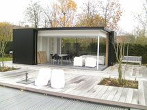 Tuinhuis kubus modern daniel decadt houten constructies houthandel proven tuin - Eigentijds buitenkant terras ...
