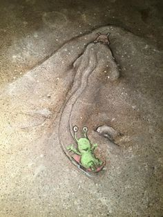 """Sledding incident at Schnozzer's Hill"" David Zinn, 2015. Café Zola."