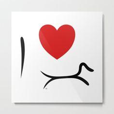 I Love Dachshund Metal Print. #dachshundart #minimalistdachshund #dachshundwalldecor #walldecor #simple #minimalist #dogart #decoration #interior #blackandwhite #doxieart #doxie #art #sausagedog #tectel #longdog #ilovedachshund #ilove #dachshundlove #doxielover #wienerdoglove #wienerdogart #mariauusivirta Dachshund Art, Aluminium Sheet, Minimalist Decor, Metal Art, Vibrant Colors, Canvas, My Love, Prints, Tela