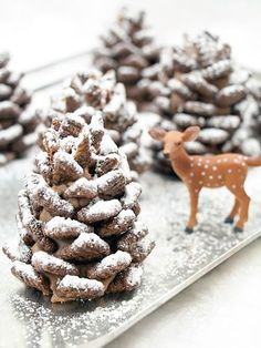 Not only are these edible no-bake pinecones, made from dry cereal and a peanut butter mixture, a fun snack for kids, they also make for a surprisingly elegant dinner table display.