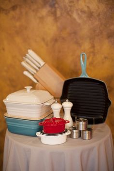 Kitchen must haves - Le Creuset and our favorite Wustof Classic Ikon Creme knives #registry #wedding #kitchen