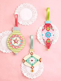 Pretty Paper Christmas Ornaments with Easy Embellishments