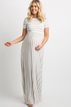 518adcc325 Heather Grey Striped Short Sleeve Maternity Maxi Dress