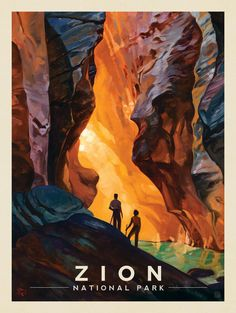 Anderson Design Group – American National Parks – Zion National Park: Virgin River Narrows High quality print on satin-finish poster paper Beautiful real wood charcoal black frame with premium clear acrylic. Retro Poster, Diy Poster, Poster Art, Vintage Travel Posters, American National Parks, National Parks Usa, Zion National Park, Usa Tattoo, Vintage National Park Posters