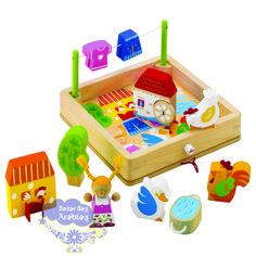 Quebra cabeça Tridimensional Fazenda, Quebra Cabeça Hape, Quebra Cabeça Plan Toys, Quebra Cabeça Sevi, Quebra Cabeça de Madeira, Brinquedos Educativos