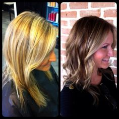 Blonde to brunette. I think this could be a nice brown that I could pull off.
