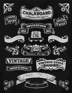 free chalkboard vector ornaments - Google 検索