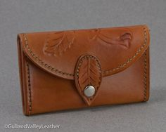 Tooled Leather Wallet or mxs Business Card Case - Tan via Etsy