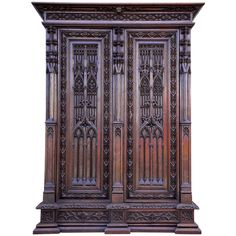 Magnificent Gothic Revival Oak Armoire in the Spirit of Violette-Le-Duc | From a unique collection of antique and modern wardrobes and armoires at https://www.1stdibs.com/furniture/storage-case-pieces/wardrobes-armoires/