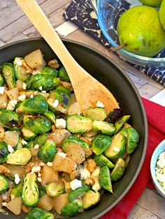 Pear and Blue Cheese Roasted Brussels Sprouts with walnuts. YUM! Perfect #healthy side dish for #Thanksgiving! - The Cookie Rookie