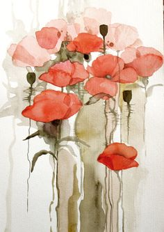 Amapolas rojas - Acuarela original pintura / mixed media