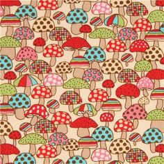 cream twill colorful red green blue mushroom fabric from Japan 1