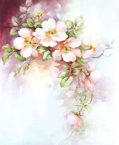 Pink Wild Roses China Painting Study by Sonie Ames 1967 Art Floral, Floral Vintage, Vintage Flowers, Floral Prints, Watercolor Flowers, Watercolor Paintings, China Painting, Fabric Painting, Tole Painting