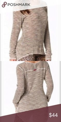 """Like New! Hard Tail Hi-Low open crew ivory brown S Like New! Hard Tail Small """"Flaunt your style with this crew neck striped top by Hard Tail. We love this knit tunic sweater by Hard Tail rendered in contrasting stripes. The sweater shows off a hi low hemline and raw trim at the neckline. Long sleeve. Semi sheer. Darling!  Fabric Content: 63% Rayon, 33% Polyester, 4% Spandex Detail: Long Sleeve, Semi Sheer, Hi Low Hemline, Raw Mesh Trim at Neckline, Outer Top Stitching Hard Tail is known for…"""
