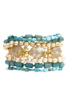 multi strand semiprecious bracelet, pearls and turquoise!