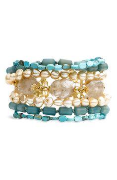 ❥ multi strand semiprecious bracelet