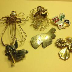 Vintage Estate Lot of 6 ANGEL BROOCH Pins Faux Pearl Enamel Gold Tone Jewelry