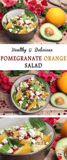 Our Pomegranate Orange Salad is colorful, light & healthy. Oranges,pomegranate seeds, avocado & almonds are tossed with a light dressing for a tasty side. via @2CookinMamas