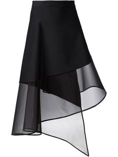 DAVID KOMA - Wrapped Sheer-Hem Skirt - DK30S JL BLACK - H. Lorenzo
