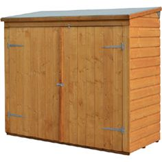 The Wall Store Storage Shed is the ideal outdoor storage solution for  items such as bikes, outdoor toys, pool equipment and garden tools and  equipment. With easy access from the over 5-foot wide double door  opening, the Wall-Store is both functional and practical. Constructed  from 1/2-inch shiplap cladding with a dipped honey-brown finish, this  storage shed looks good as well. Weatherproof due to a mineral felt  roof and pressure treated timber to ensure longevity. Sold as a kit…